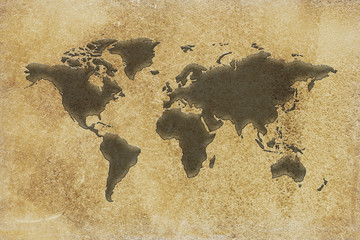 Silhouette of Map of the world on vintage paper