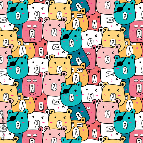 Hand Drawn Cute Bear Vector Pattern. Doodle art.