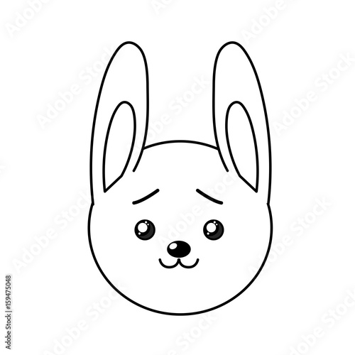 line cute wild animal face with expression - 159475048