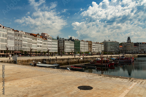 Deurstickers Canarische Eilanden View of the old town of La Coruna, Spain on a beautiful day with copy space
