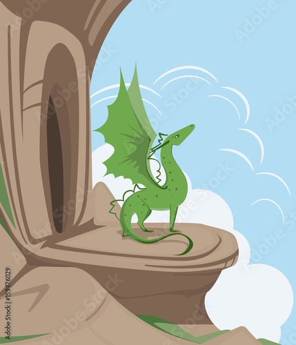 A green dragon with spread wings at the entrance to a cave on a rock. Vector flat illustration.
