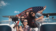 Quadro Emotional group of mixed ethnic young friends on board a motor boat along a river laughing and cheering and raise american flag in air. Celebrate an Independence Day on July 4