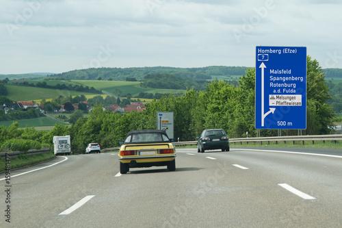 Poster Hinweistafel  Ausfahrt Malsfeld auf BAB 7 (Autobahntafel grafisch aufbereitet!)