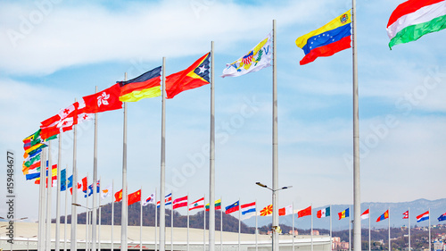 Foto op Plexiglas F1 Flags of countries. different countries on the flagpole
