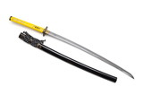Japanese sword and scabbard on white background wrapped handle by yellow leather  and ray skin on scabbard