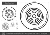 Car wheel vector line icon isolated on white background. Car wheel line icon for infographic, website or app. Scalable icon designed on a grid system.