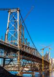Ponte Hercílio Luz em manutenção.