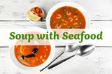 Tasty soups with sea food in bowls on wooden background