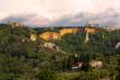 Volterra, panorama con le Balze e la badia Camaldolese e la chiesa di S.Giusto