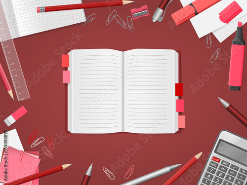 School supplies, open notebook, red pencils, pens, paper, calculator, ruler, eraser with place for text. Back to school. Education and school concept. Vector illustration - 159498899