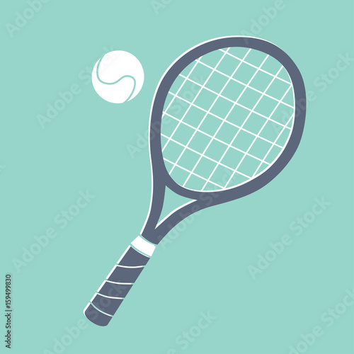 Plakát Tennis racket and ball illustration.