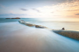 Beautiful long exposure seascape with sunrise or sunset.