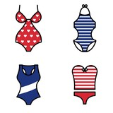 Set of Summer Woman Swimsuit Icon