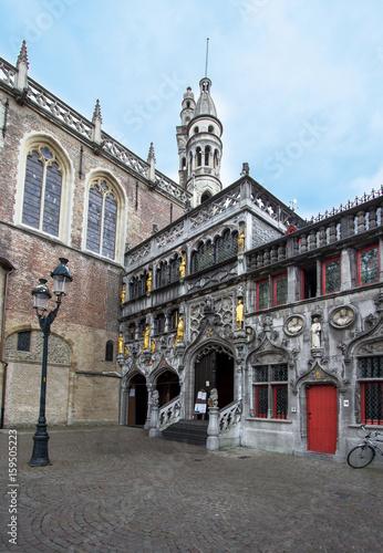 Fotobehang Brugge Basilica of The Holy Blood, Brugge, Belgium