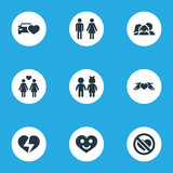 Vector Illustration Set Of Simple Feelings Icons. Elements Care, Broken Soul, Automobile And Other Synonyms Heartbreak, Care And Couple.
