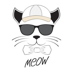 Cat head in goggles and cap on a white background.