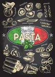 Different types of authentic Italian pasta. Hand drawn set. Vector illustration on the blackboard. Menu or signboard template for restaurant. - 159516010