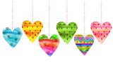 Lovely Cartoon Watercolor seamless love hearts valentines pattern, items of a collection and illustrations isolated on white background. Good for love card, valentine day congratulation design.
