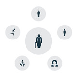 Human Icons Set. Collection Of Delivery Person, Member, Businesswoman And Other Elements. Also Includes Symbols Such As Woman, Old, Courier.