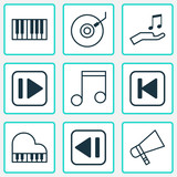 Audio Icons Set. Collection Of Run Song Back, Gramophone, Octave And Other Elements. Also Includes Symbols Such As Back, Octave, Instrument.