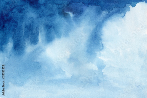 Abstract blue colorful hand draw water color background - 159533878