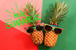 Summer and Holiday concept.Hipster Pineapple Fashion Accessories and Fruits on colorful and hello summer word background