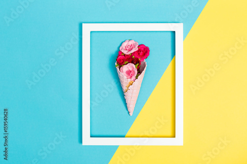 Ice cream cone with roses