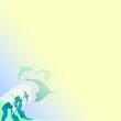 светлый фон с волной и дельфинами, векторная иллюстрация