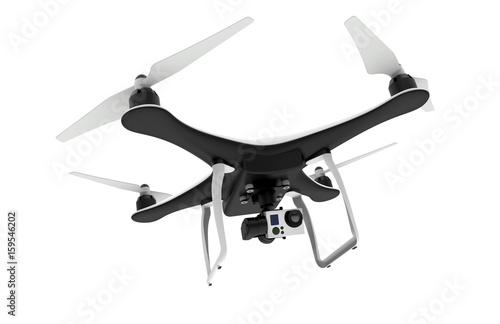 Drone with digital camera flying on a white background