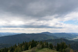 Carpathians, mountains from a height in the town of Slavsk