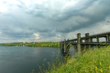 Landscape of the banks of the Dnieper before the rain