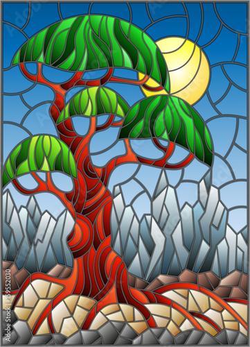 ilustracja-w-witrazu-stylu-z-zielonym-abstrakcjonistycznym-drzewem-na-tle-niebo-slonce-i-gora