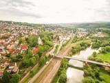 Bahnlinie und Neckar bei Plochingen, Luftaufnahme