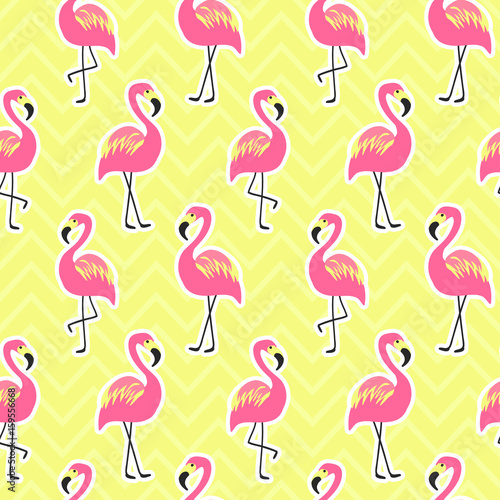 Aluminium Pop Art Beautiful seamless pattern with flamingo