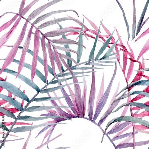 Watercolor vector tropical floral pattern - 159559491