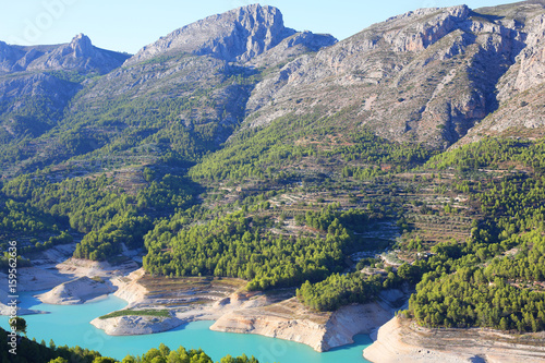 Turquoise reservoir in Guadalest, Valencia Region, Spain