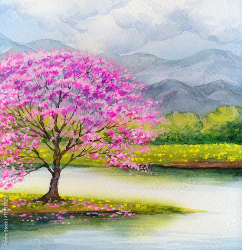 akwarela-krajobraz-kwitnienie-rozowy-drzewo-nad-jeziorem