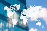 World map on blurred building background. Real estate or construction poster, banner or flyer design
