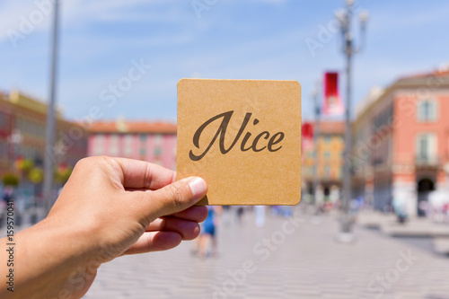Fotobehang Nice word Nice in Massena square in Nice, France