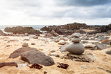 Zen stone pebble pile in Cape Conran Beach, Australia