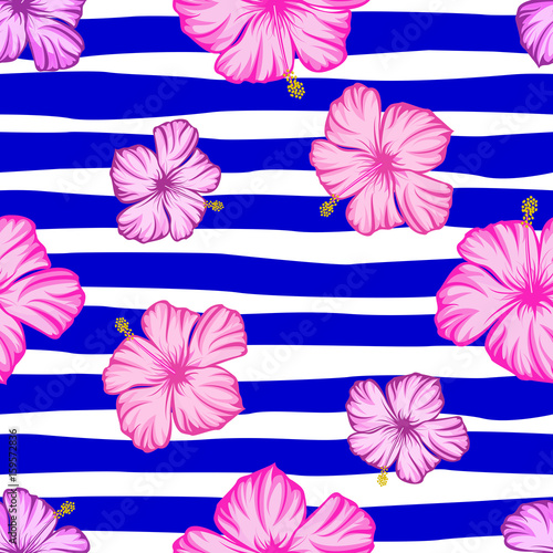 Seamless pattern tropical flowers hibiscus with strip. - 159572836