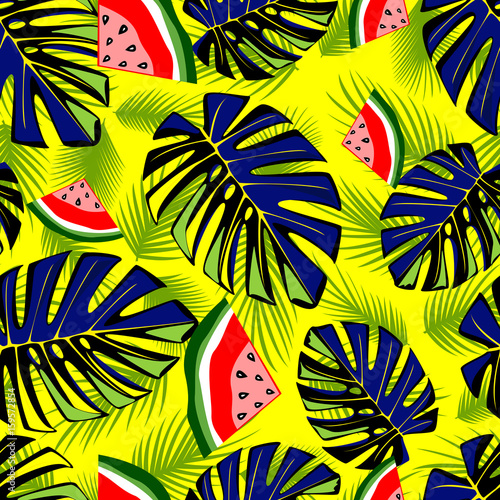 Seamless tropical pattern with green leaves and tasty watermelon.