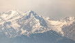Mountain ridge with snowy peaks in Tien Shan