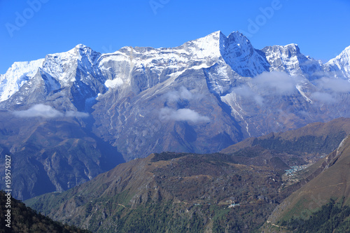 Beautiful mountain landscape on the way to everest base camp Poster