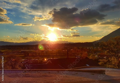 Foto op Plexiglas Bruin sunset