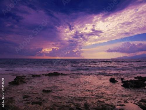 Foto Spatwand Violet sunset