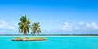 Quadro Einsame Insel als Panorama Hintergrund vor blauem Himmel