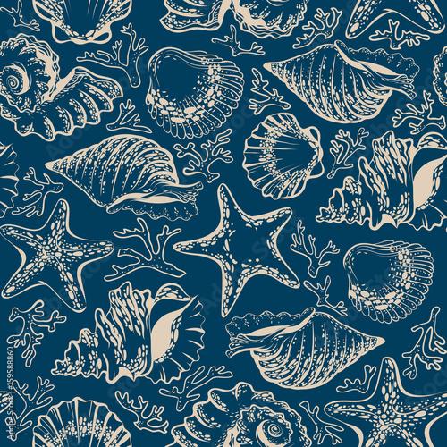 seamless pattern, seashells, starfish and corals