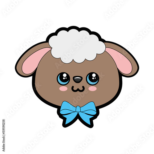 Sheep kawaii cartoon icon vector illustration graphic design - 159590258