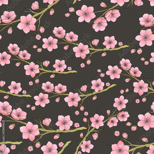 Cotton fabric Seamless background pattern of pink Sakura blossom or Japanese flowering cherry. Vector illustration